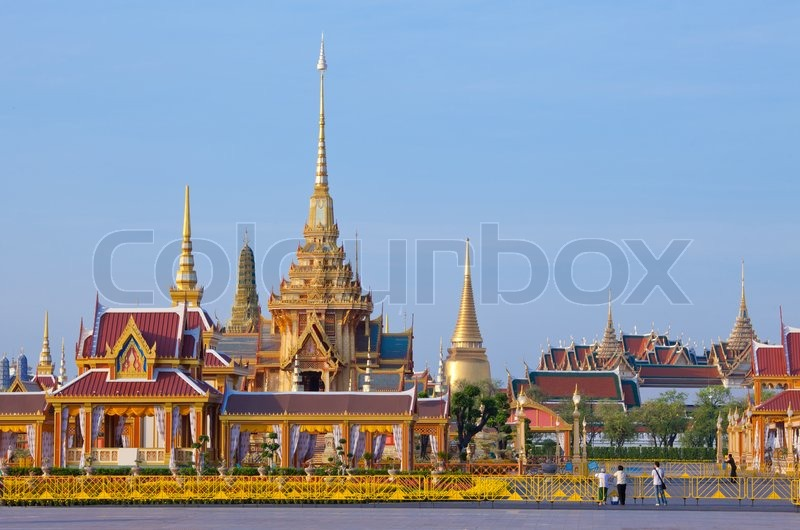 Thai royal funeral and Temple, stock photo