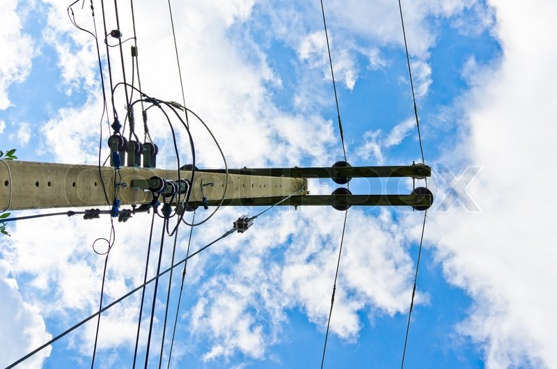 Electric line and blue sky, stock photo