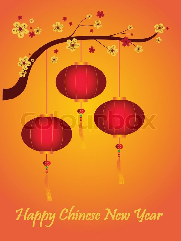 lanterns and happy chinese new year stock vector colourbox - Happy Chinese New Year In Chinese