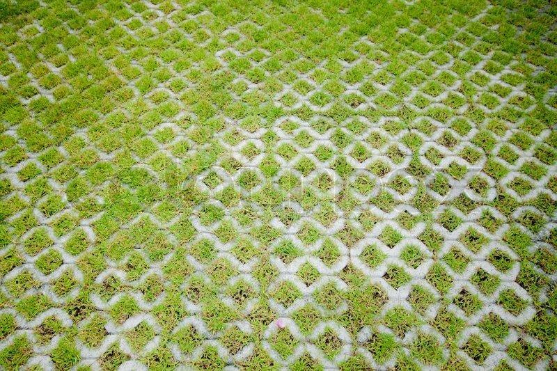 Concrete Floor With Green Grass Stock Photo Colourbox