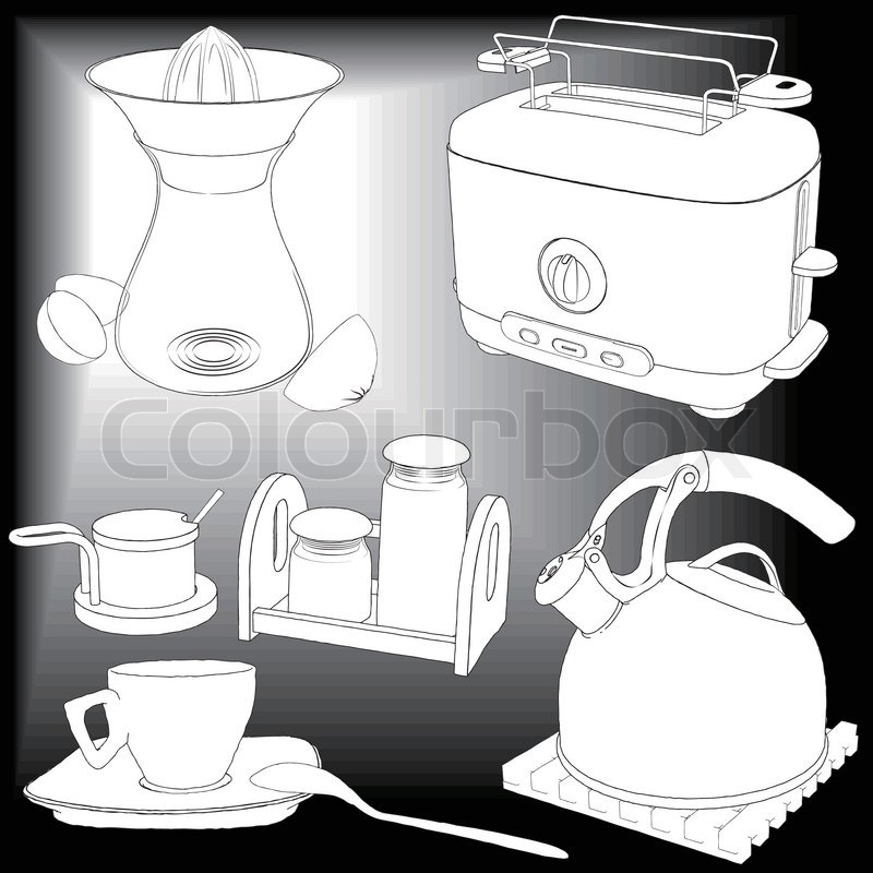 Vector Drawing Kitchen Appliances