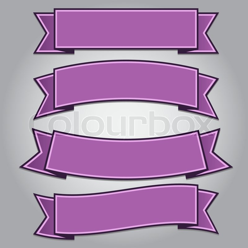 set of purple ribbon banners stock vector colourbox