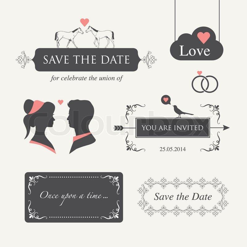 Set of wedding logo design illustration elements and ornaments set of wedding logo design illustration elements and ornaments editable for wedding invitation card stock vector colourbox stopboris Images