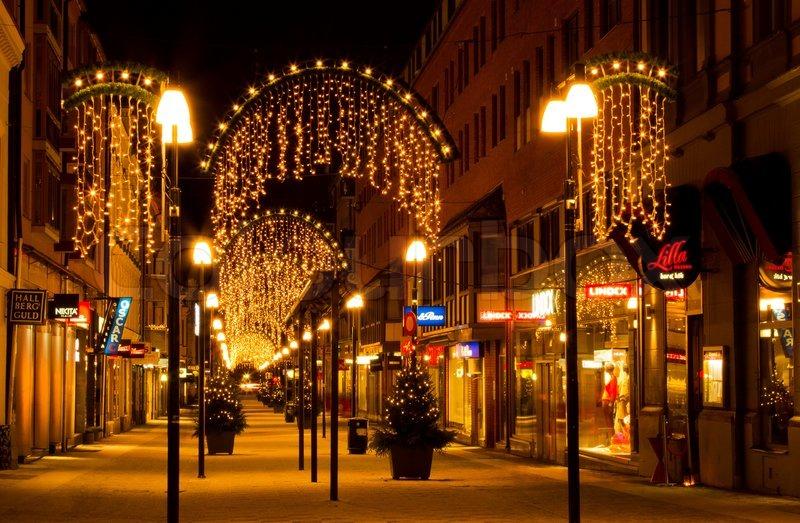 pedestrian street lighting during christmas time stock photo colourbox