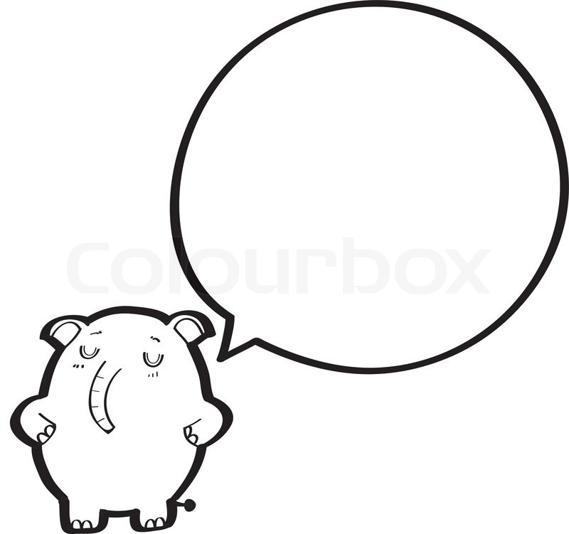 Elephant Cartoon Outline Cartoon Elephant With Speech