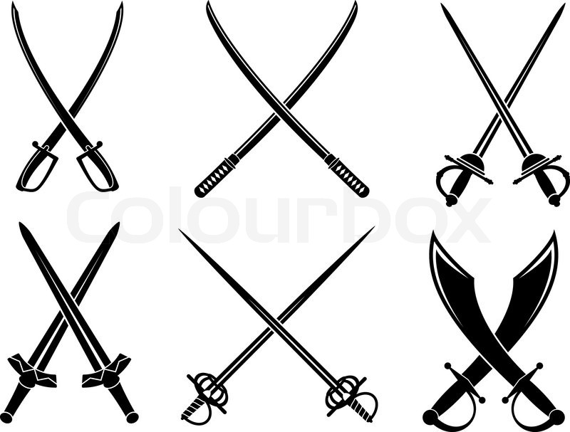 crossed swords and cutlasses | stock vector | colourbox