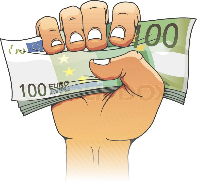 Euro Banknote In People Hand Stock Vector Colourbox