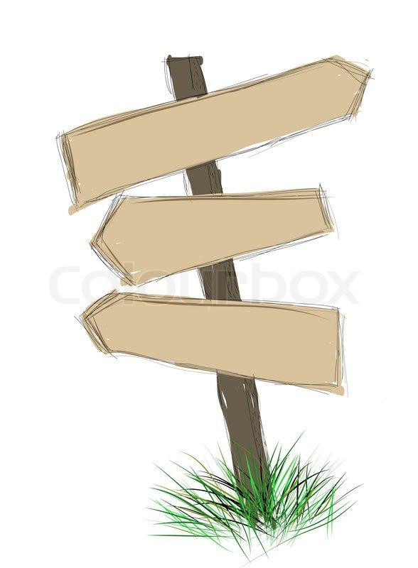 Cartoon Wood Board ~ Wood sign board cartoon doodle stock photo colourbox