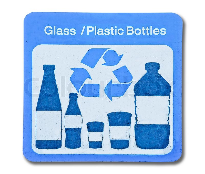 The sign of recycle glass and plastic bottle stock photo for Glass and acrylic