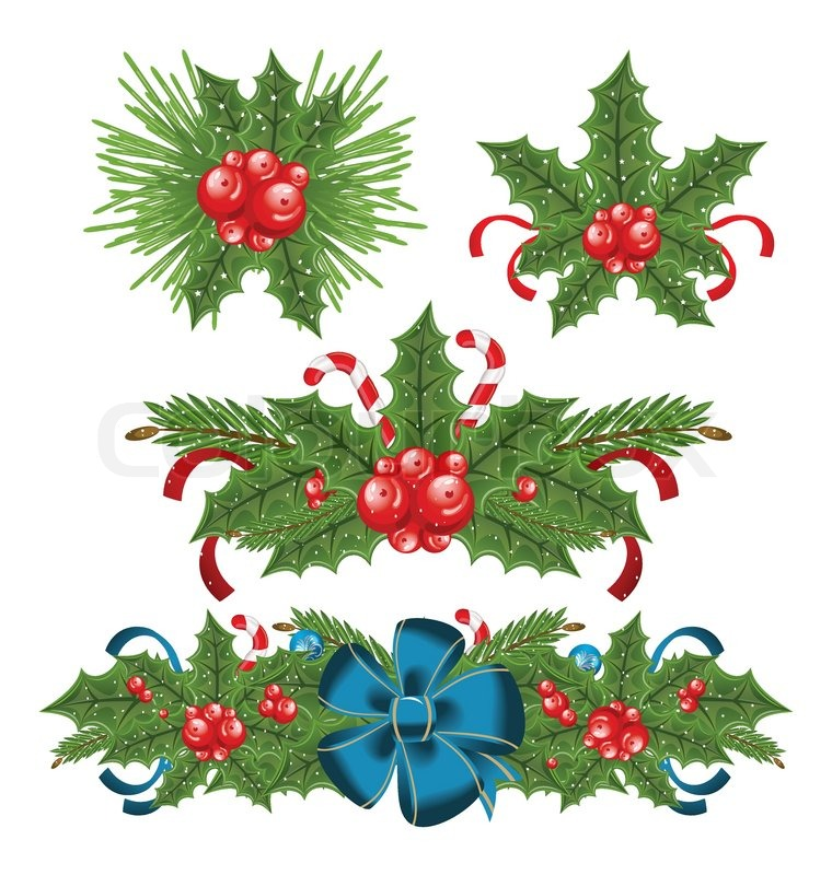 Set Holly Berry Sprigs For Christmas Decorations Stock