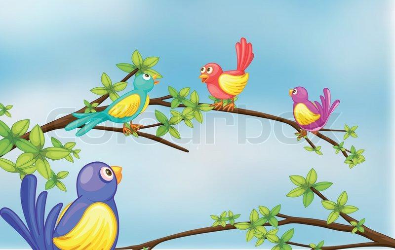 Colorful birds talking, vector