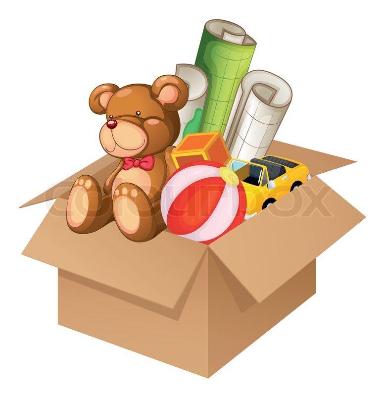 Toys in a box stock vector colourbox
