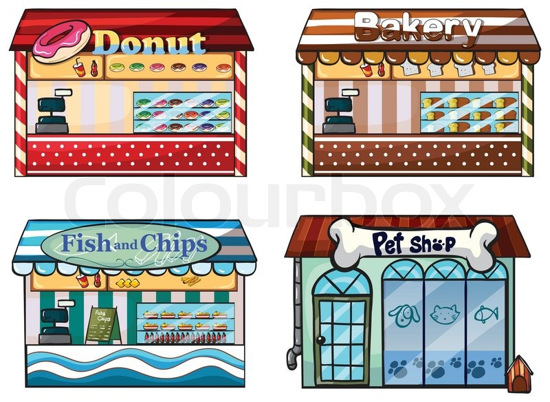 A donut store bakery fish and chips store and a pet shop for Fish and more pet store