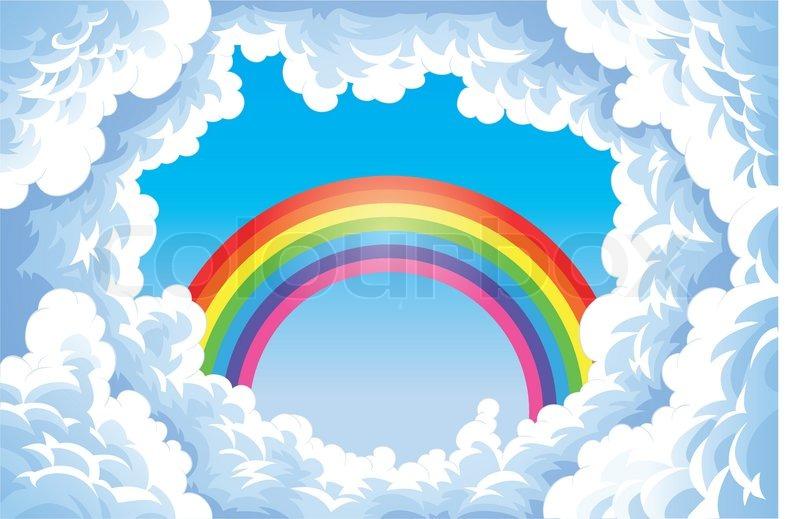 regenbogen in den himmel mit wolken  vektorgrafik