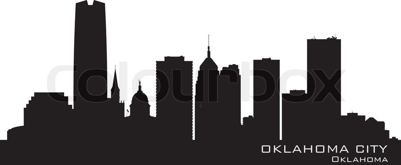 Oklahoma City Skyline Detailed Silhouette Stock Vector