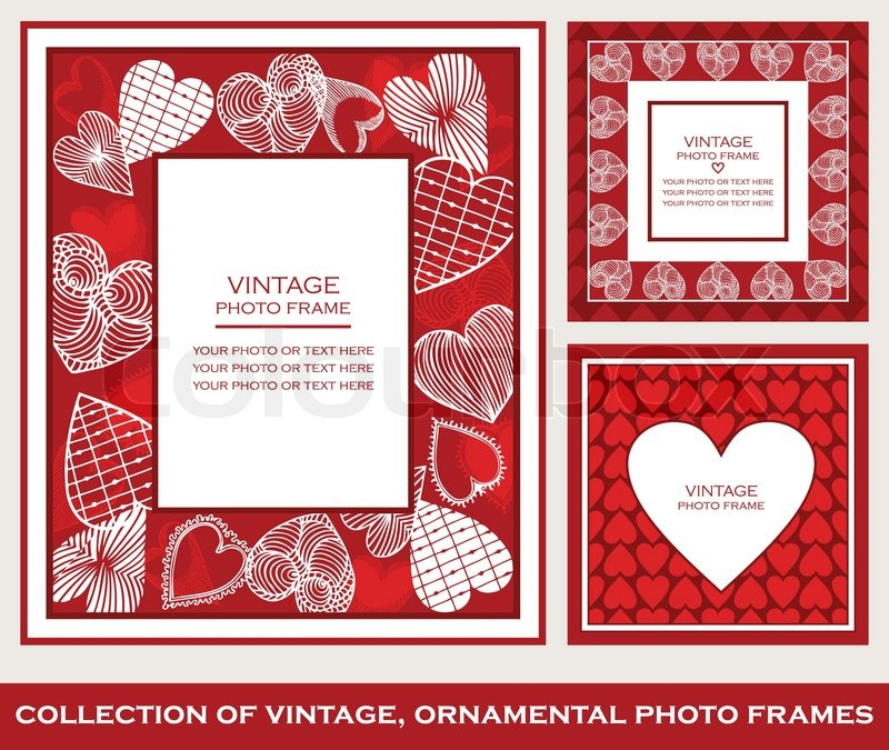 Retro, Abstract Photo Frames Set On St. Valentineu0027s Day, Cartoon Hearts  Ornaments, Red And White Patterns, Greetings And Invitations, Beautiful  Cards For ...