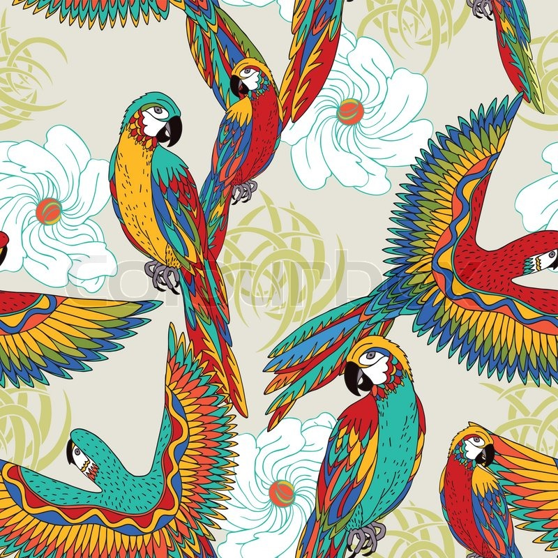 Vintage, colorful background with parrots, theme and ...