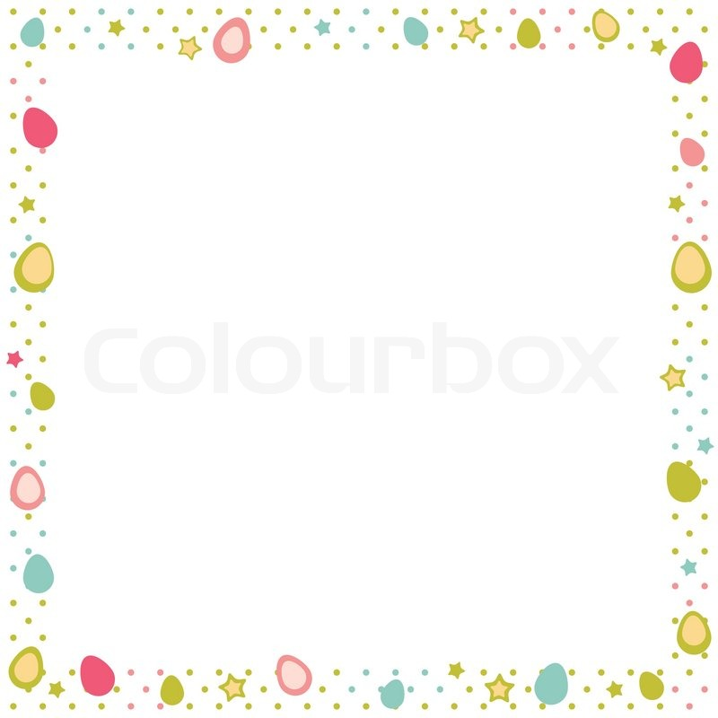 Easter eggs colorful frame with stars and polka dot | Stock Vector ...