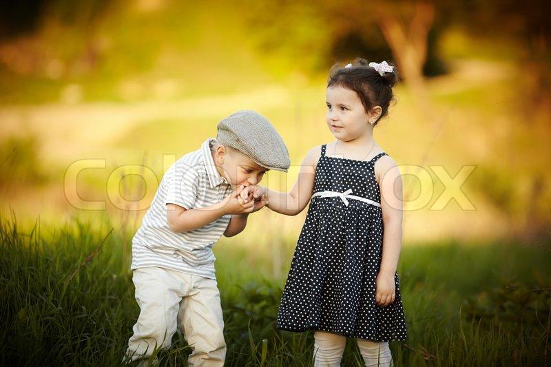 Little Boy Kissed A Girl Stock Photo Colourbox