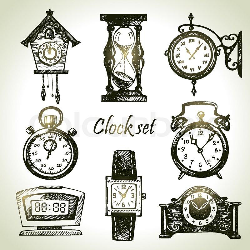 Armbanduhr gezeichnet  Hand gezeichnet Set von Uhren | Vektorgrafik | Colourbox