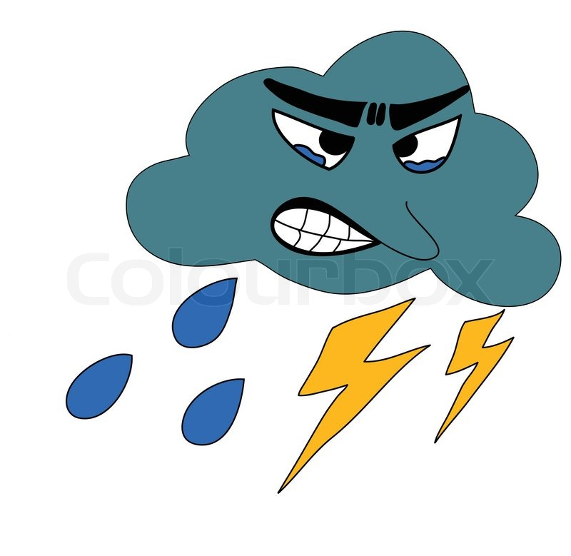 Thunderbolt Storm with rain Icon for Weather forecast, vector