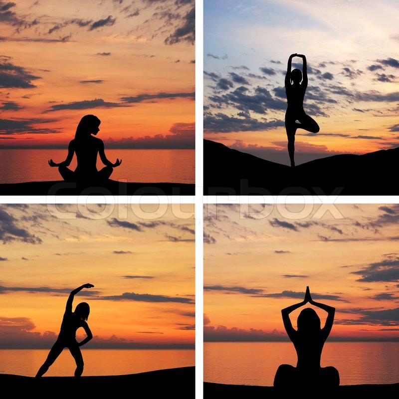 Workout Photography: Silhouette Of Young Woman Doing Yoga Exercise Over The