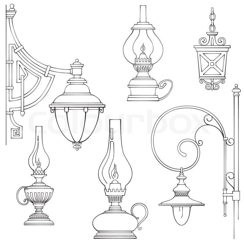 Vintage Gas Lamps Kerosene Silhouette