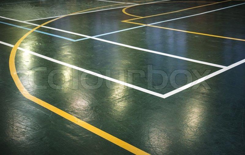 Grun Leuchtenden Boden Der Sporthalle Stockfoto Colourbox