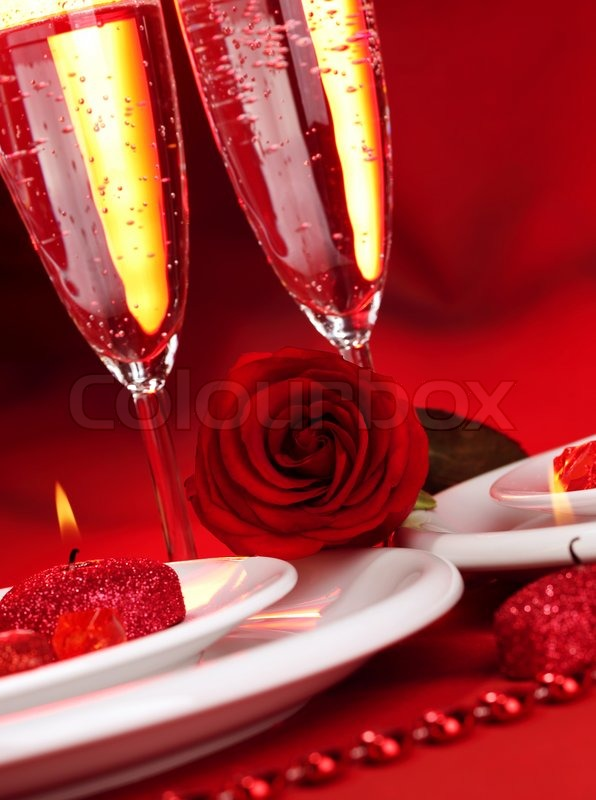 Image of beautiful valentine day dinner still life two glasses for