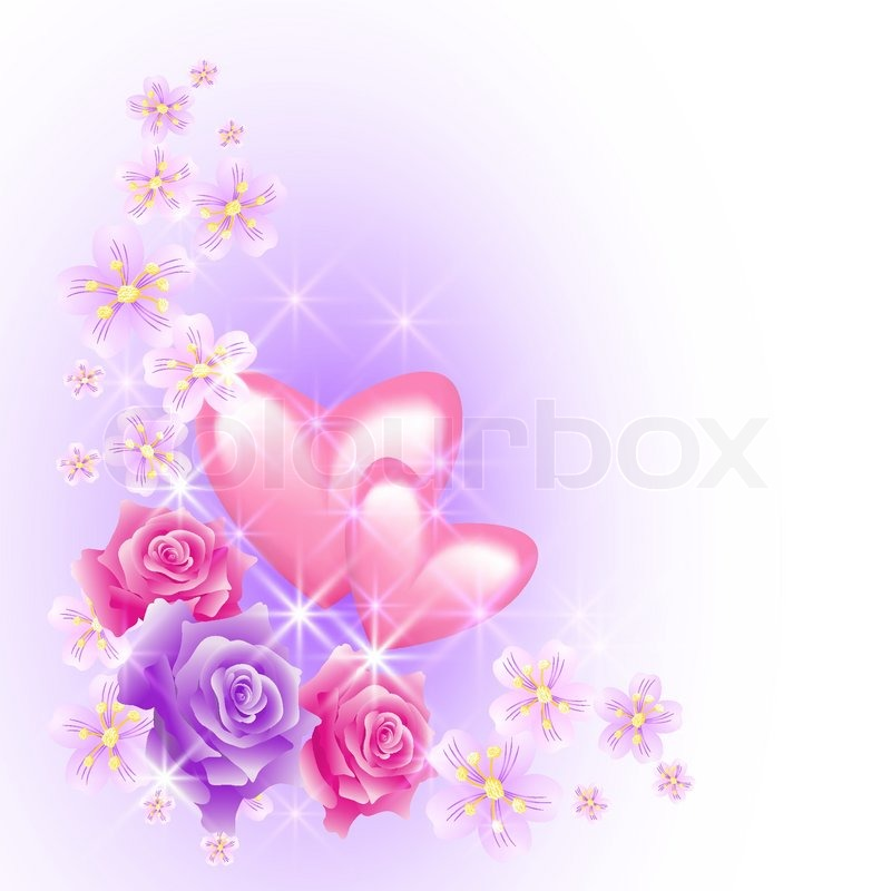 Pink hearts with flowers | Stock Vector | Colourbox