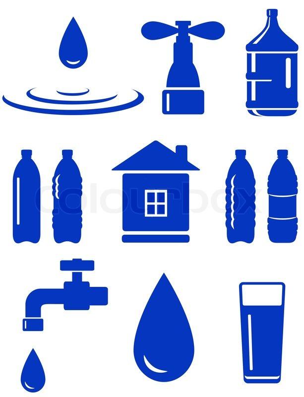 wasser menge icon mit haus wasserhahn tropfen flasche auf wei em hintergrund vektorgrafik. Black Bedroom Furniture Sets. Home Design Ideas