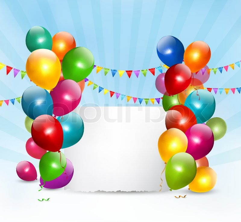Holiday Background With Colorful Balloons Vector Stock Vector