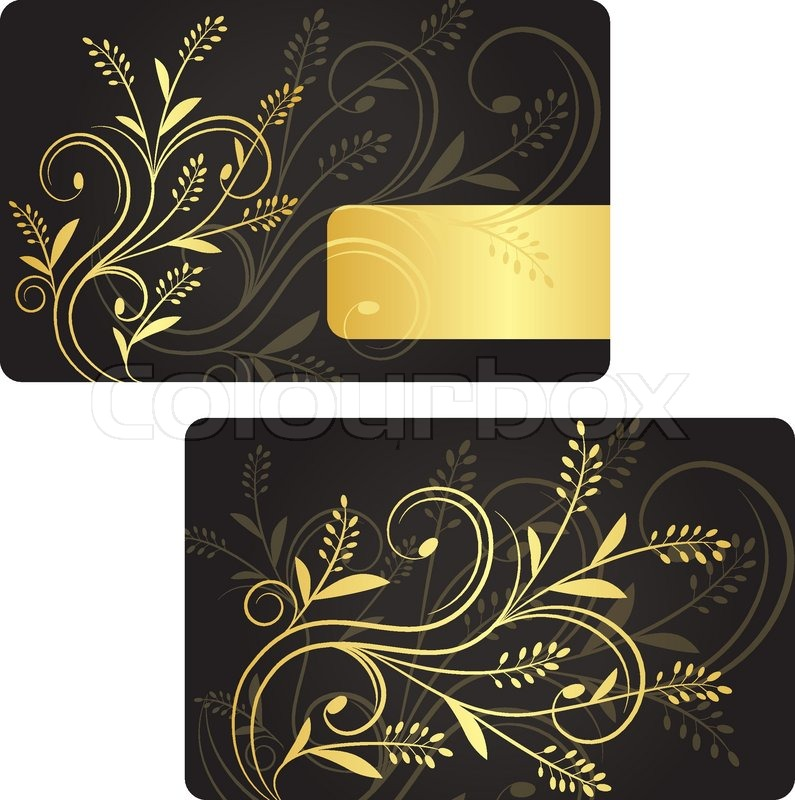 Luxury Business Card With Golden Floral Decoration Front