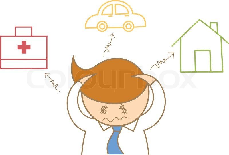 Cartoon Figur Von Business Man Kopfschmerzen Ber Schulden