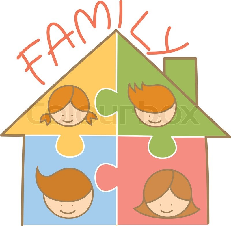 Cartoon Character Of Family Jigsaw House Stock Vector