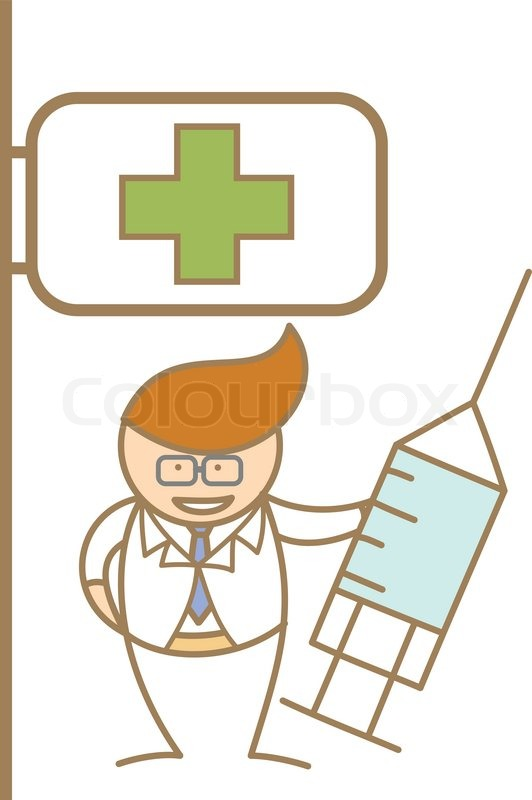 Stock vector of 'Cartoon character of doctor holding syringe in front ...