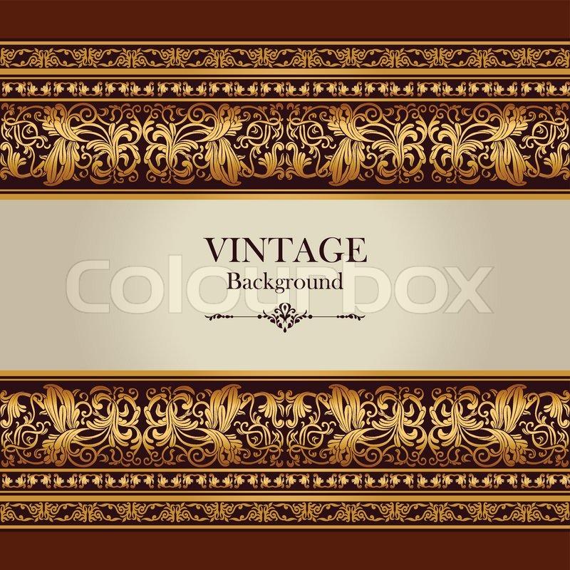 Vintage background, elegant antique, victorian gold, floral ...