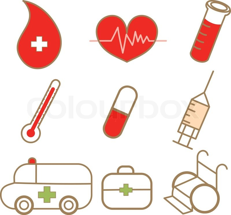 Cartoon Drawing Of Medical Icon Set Stock Vector Colourbox