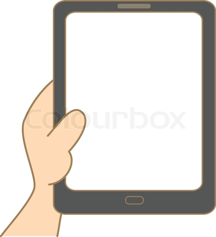 Drawing Smooth Lines In Photo With Tablet : Cartoon drawing of hand holding tablet stock vector