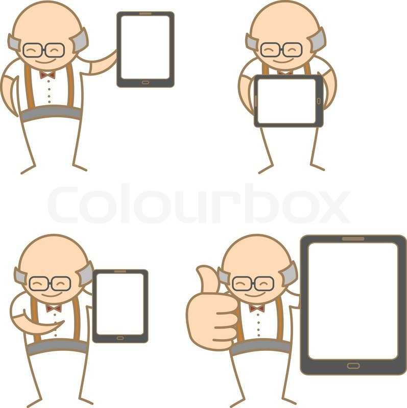 Cartoon Characters Old Man : Cartoon character set of old man with tablet stock