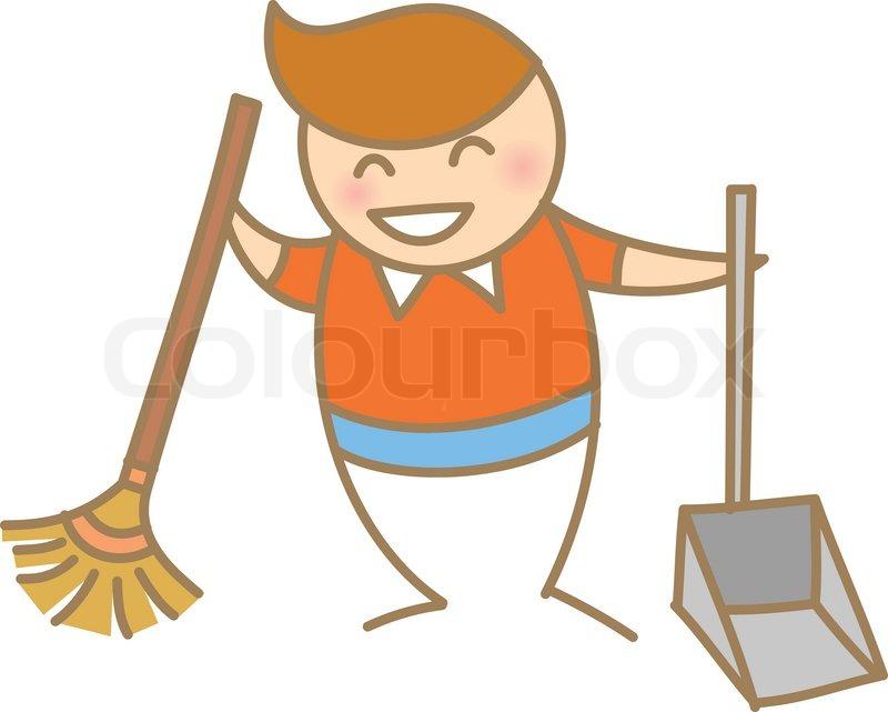 Kid Help Cleaning Housework, Vector