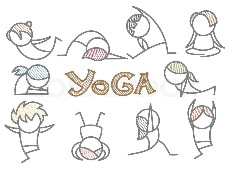 Line Drawing Yoga Pose : Set of cartoon yoga line art stock vector colourbox