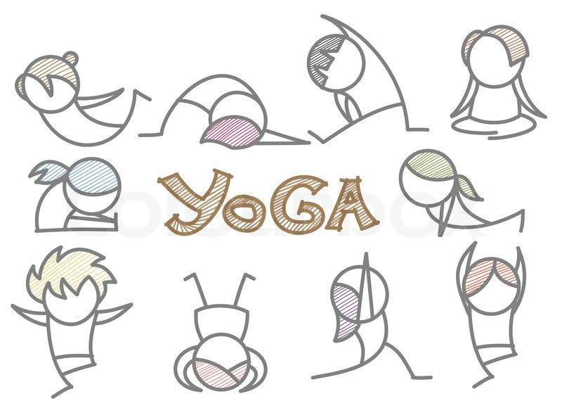 Line Art Yoga : Set of cartoon yoga line art stock vector colourbox