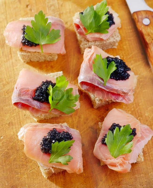 Canape with fish and caviar stock photo colourbox for Canape with caviar