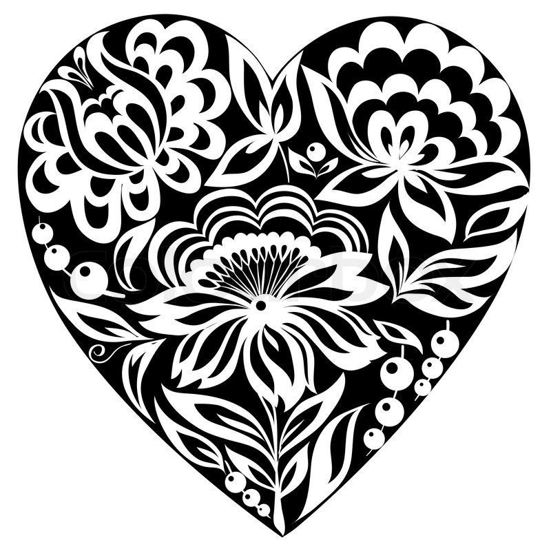 Black Flower Heart Shape Illustration Tattoo On White: Silhouette Of The Heart And Flowers On It Black-and-white