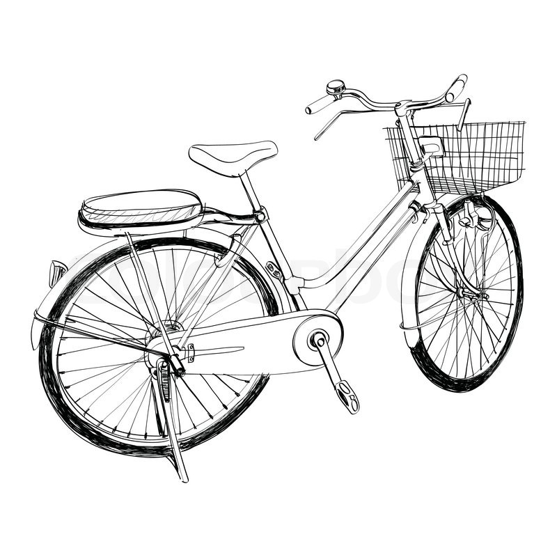 Old Bicycle Sketch Illustration Hand Stock Vector