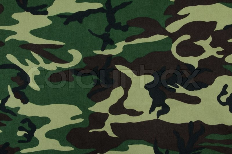 Thai Army Green Woodland Camouflage Stock Photo