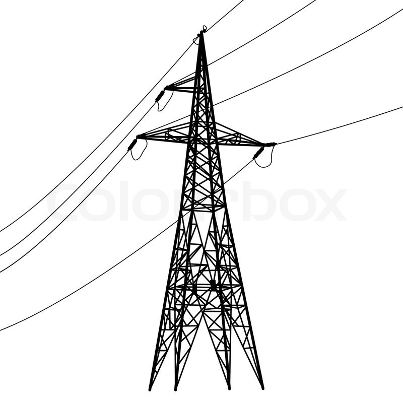 Silhouette Of High Voltage Power Lines