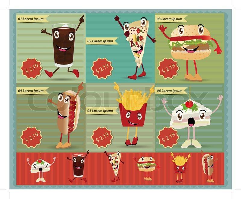 Set Of Retro Fast Food Menu Funny Cartoon Character Vector Style Template Design Stock