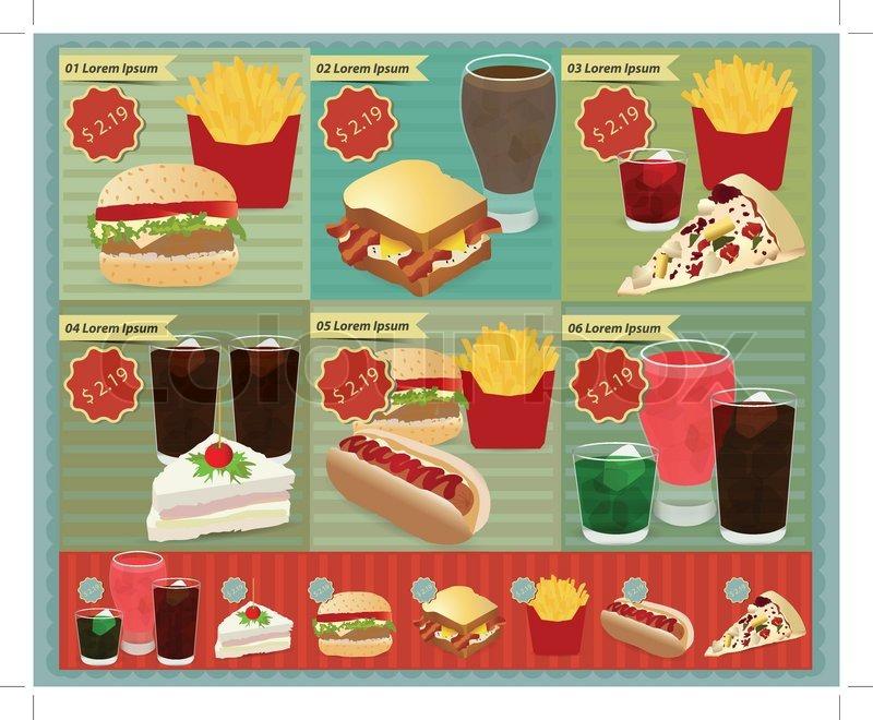 set of retro fast food menu vector retro style template design